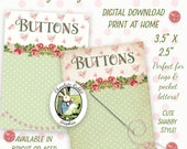 Shabby Rose Button Cards, Printable Sewing Tags, Digital Download, Pocket Letters, Sewing Collage Sheet, Sewing Clip Art Images
