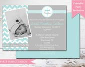 Blue and Gray Chevron Baptism invitation First Communion Announcement - Print Your Own