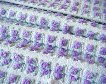 Morgan Jones Lavender Rosebud Vintage Cotton Chenille Bedspread Fabric  12 x 24 Inches