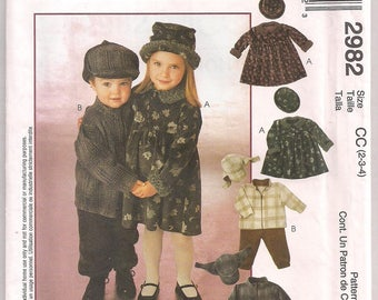 McCalls 2982 Toddler Boy Girl Dress Pattern Unlined Jacket Pullon Pants Hat Pattern Cozy Togs Fleece Wear Size 2 3 4 Uncut