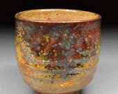 Amazing Larger Handmade Stoneware Yunomi Tea Cup Glazed with Shino, Wood Ash, Copper and Rutile