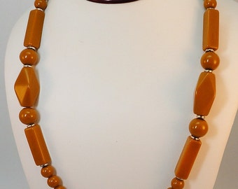60s Butterscotch mixed beads matinee necklace Vintage