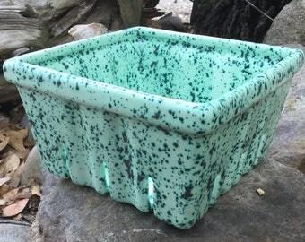Berry Basket, ceramic, strawberry basket, go green, farmers market, pistachio, green, emerald