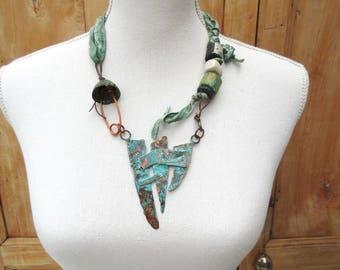 Guardians of Time: an original industrial necklace with verdigris copper pendant .....