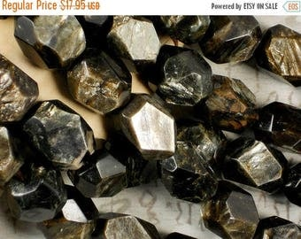 SALE 10 Golden Mica Beads Faceted 21mm x 15mm Chunky Oval Rare Gemstone Half Strand (5100)