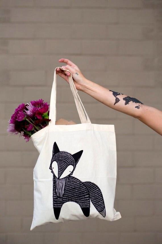 Fox Tote Bag, Fox Grocery Bag, Fox Gift Bag, Fox Cloth Bag, Woodland Tote Bag, Farmer's Market Fox Bag, Gift For Her