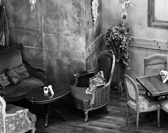 Photograph Black and White Interior Still Life Mismatched Tables and Chair Southern Charm Horizontal Art Print Home Decor