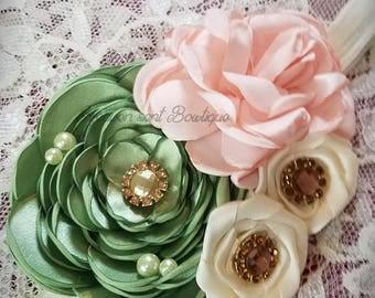 Flower headband/Flower girl headband/Headband/Flower girl headpiece/Hair Accessories/girls headbands/Light Peach & Green headband