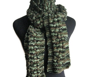 Hand Knit Scarf, The Stef Scarf, Camo Cable and Lace Scarf, Vegan Knits, Mens Accessories, Green Scarf