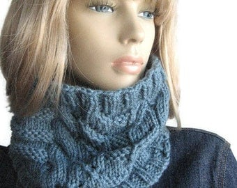 Dusty Blue Lace and Cables Cowl, Knit Neckwarmer, Hand Knit Cowl, Vegan Knits
