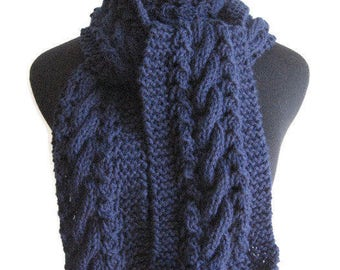 Navy Scarf Cable and Lace Vegan Scarf, Winter Accessories, The Stef Scarf, Knit Accessories, Men Scarf, Women Hand Knit Scarf, Winter Scarf