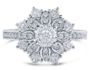 Round Cut Floral Style Diamond Engagment Ring R13