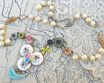 spring bluebird necklace assemblage upcycled jewelry guilloche czech beads cottage chic summer bird garden