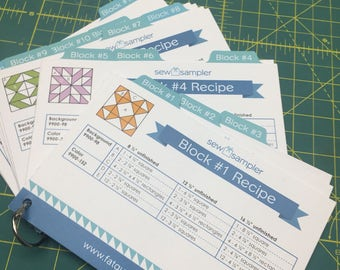 Sew Sampler Box quilt block recipe cards