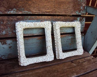 Shabby Chic Vintage Frame Set Baroque Rococo Ornate Frames  Antique White Distressed Chippy Open Scatter Vignette Frame Pair French Country