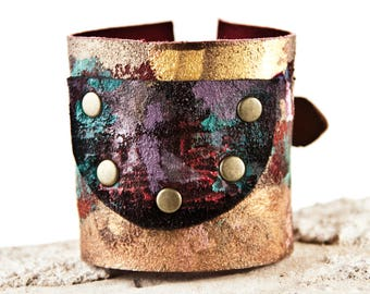 Leather Jewelry Wrist Cuff Bracelets - Turquoise, Gold, Red, Purple, Black