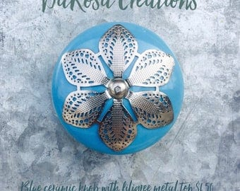 Blue Ceramic Drawer Knobs - Cabinet Knobs with Filigree Top (CK03)