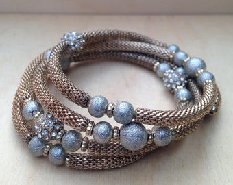 Sparkly Elegant Mixed Metal Memory Wire Bracelet