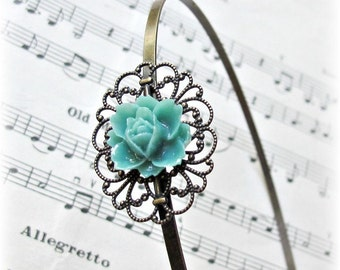 Botanical Headband Flower. Turquoise Green Floral Cabochon Filigree Hair Accessories. dspdavey Alice Band Lotus Rose. Handmade For Her Girls