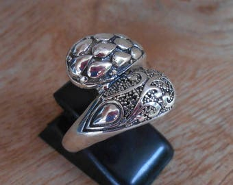 Balinese Sterling Silver two tongues ring / silver 925 / Bali handmade jewelry / request your size / (#504m)