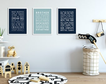 Brothers room set 3 - A3 subway bus roll wall art prints