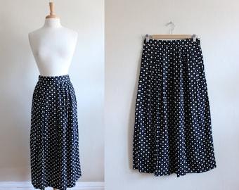 Vintage Black Polka Dot Full Midi Skirt