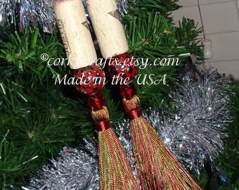 Wine Cork bottle tag, ornament,  set of two, sage green and red tassel ornaments