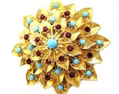 Hattie Carnegie Ruby and Aqua Glass Brooch