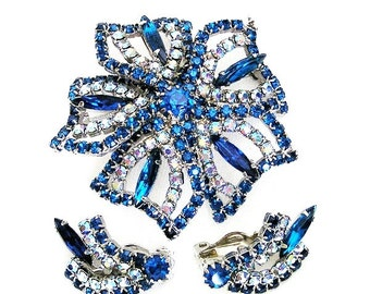 Taylor Maid Blue and AB Blue Crystal Brooch and Earring Set