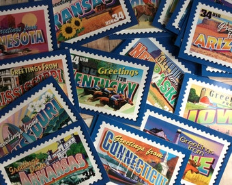 Postcards of All 50 States - Bright and Fun - Use for Learning Tool for Children or Scrapbooking