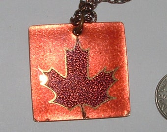 glowing copper leaf necklace by JULES PERRIER- authentic canadian artist- 1970s with 70s chain all original
