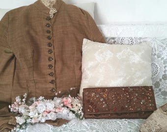 brown beaded clutch, upcycled clutchbag, brown sequin clutch, brown evening clutch, embroidered clutch, brown wedding bag