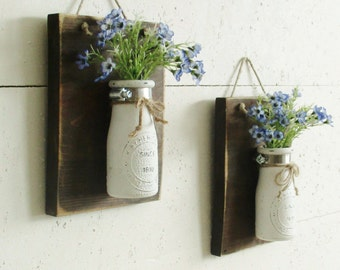Rustic Reclaimed Wood Wall Sconce..  2 Individual Hanging Vintage Milk Bottles..Chic Country Farmhouse Wall Decor