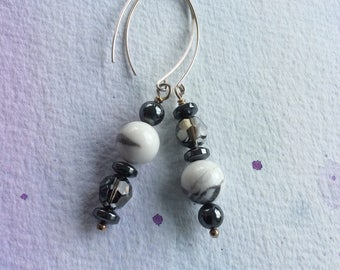 FREE SHIPPING Long Sterling Silver Grey and White Stone and Crystal Dangle Earrings