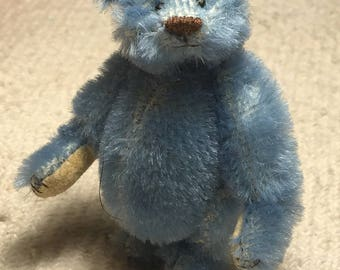 Miniature Hand Sewn 3in. ALFONSO BLUE Mohair Teddy Bear