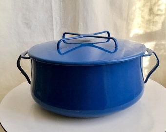 Vintage Dansk Dutch Oven Kobenstyle Enamel Blue IHQ Enameled Jens Quistgaard 6 QT