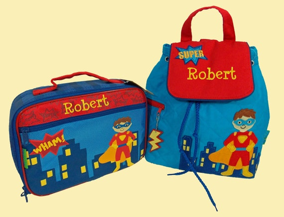 Child's Personalized Stephen Joseph SUPER HERO  Backpack and Lunchbox School Set-Monogramming Included
