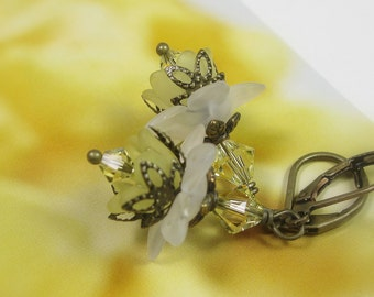 Primrose Yellow Flower Earrings, Swarovski Crystal Earrings, Yellow White Lucite Spring Flowers, Antique Brass Jewelry, Gifts for Gardeners