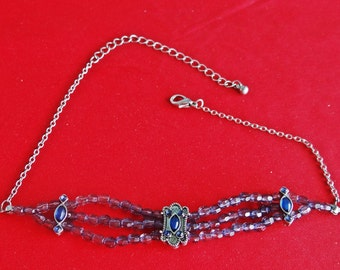 """Vintage  14.5"""" silver tone necklace with blue beads and rhinestones in great condition, appears unworn"""