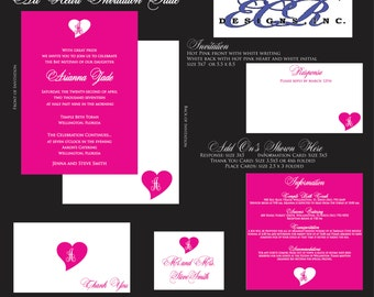 All Heart Hot Pink and White Bat Mitzvah EXTRAS - Matching items to main invitations. sweet 16. wedding.
