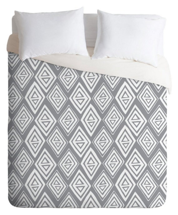 gray geometric duvet cover bedding twin queen king sizes home decor diamond in the rough design modern geometric bedroom