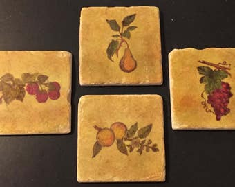Orchard Fruits - Set of 4 Porcelain Ceramic Coasters -  Great Gift - Hand-Stamped & Colored - Fruit Motifs - FREE Shipping