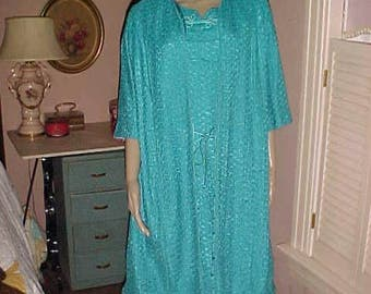 Vintage 60s DRESS &  Matching COAT Turquoise Lacy Boucle Vibrant/EASTER Wear Beautiful Bargain