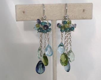 Gemstone Waterfall Earrings in Sterling Silver, Mystic Blue Topaz, Peridot, Green Fluorite, Sky Blue Topaz, Blue Zircon, Iolite - Ocean Blue