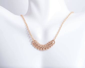Gold Filled Chainmail Necklace - Gold Chainmaille Necklace - Vertebrae Weave Necklace - Dainty Gold Necklace - Gold Bar Necklace