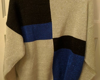1980s silver metallic knit sweater Large color block eighties saved by the bell new wave