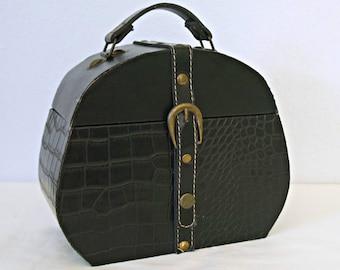 Vintage Wood Box Purse Leather Covered Black Oval Handbag Treasure Chest Travel Case