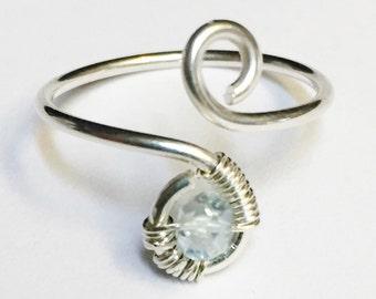 Blue Topaz Ring   Blue Topaz Gemstone   Blue Topaz Midi Ring   Sterling Silver Ring   December Birthstone