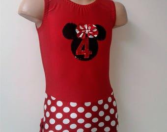 Gymnastics Dance Leotard with Minnie Mouse Applique. Dancewear. Toddlers Girls Gymnastics Leotard. Size 2T - Girls 12