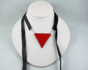 Triangle Necklace, Geometric Necklace, Choker, Choker Necklace, Leather Choker, Black Choker, Black and Red, Black Leather Choker